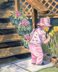 AUBREY SMELLING THE TULIPS  10 X 14 inches NFS
