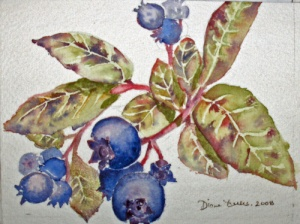 BLUEBERRIES - 6 X 4 inches $50