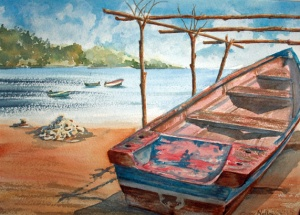 BOATS OF ST. LUCIA 14 X 10 inches $150