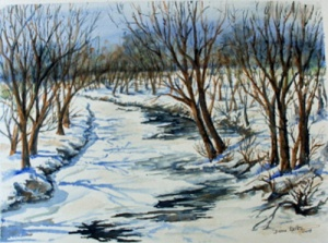 FROZEN WINTER CREEK 14 X 10 inches $150