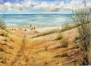 GRAND DAY AT THE BEACH 18 X 13 inches $400 SOLD