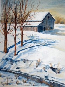 GREY BARN AND CREEK 10 X 14 inches $200