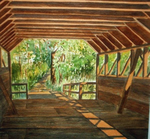 INSIDE THE COVERED BRIDGE 13 X 11 inches $150