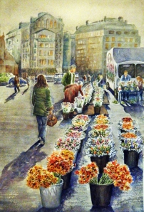 MARSEILLE FLOWER MARKET 14 X 21 inches $400