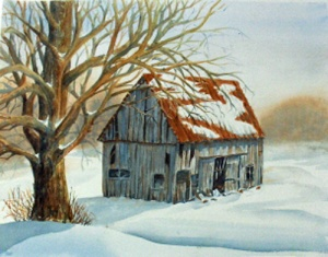 OLD BARN ON PLANK ROAD 19 X 15 inches $400