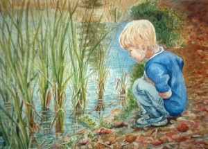 QUINN AT THE FROG POND  14 X 10 inches    NFS