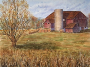 AUTUMN FARM ON ROKEBY LINE 19 X 15 inches $400