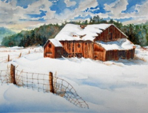 RUSTIC BARN ON LONDON LINE 19 X 15 inches $400