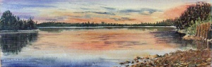 TWIN LAKES NARROWS 16 X 6 inches $100