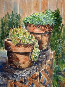 TWO CLAY POTS  10 X 14 $250 sold