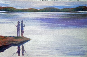 WAITING FOR A BITE - 11 X 7 inches $95