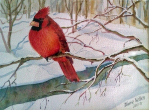 WINTER CARDINAL -  9 X 7.5 inches  $150    SOLD