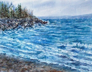 WINTER SURF ON LAKE SUPERIOR 19 X15 inches $275